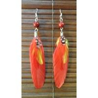 Boucles d'oreilles bird feather rouge