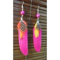 Boucles d'oreilles bird feather fuschia