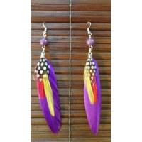 Boucles d'oreilles bird feather mauves