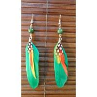 Boucles d'oreilles bird feather vertes