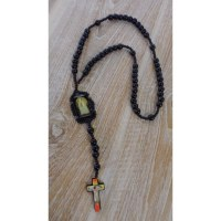 Chapelet perles et médaille en bois foncé