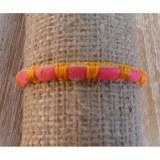 Bracelet  fin en cuir et fil orange