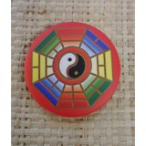 Badge yin yang hexagone multicolore