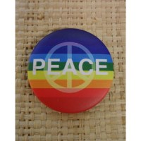 Badge arc en ciel peace and love