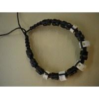 Bracelet 3 coton noir et perles