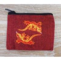 Porte monnaie  rouge brodé 2 salamandres