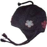 Bonnet noir doublé fleurs