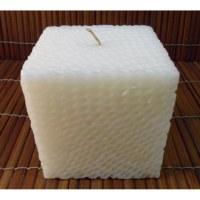 Bougie carrée nid d'abeille blanche