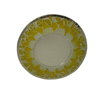 Miroir rond mosaïque citron