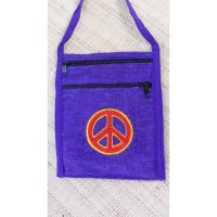 Sac brodé passeport violet peace and love