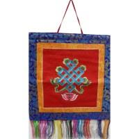 Bannière tibétaine rouge noeud infini
