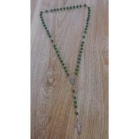 Chapelet en perles de bois vert mousse