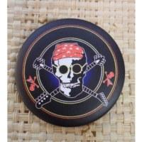 Badge  crâne guitariste 45
