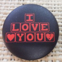 Badge I love you noir