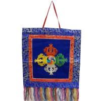 Bannière tibétaine bleue double vajra