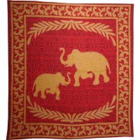 Batik les 2 éléphants rouge