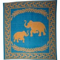 Batik les 2 éléphants turquoise