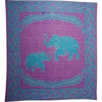 Batik les 2 éléphants mauve
