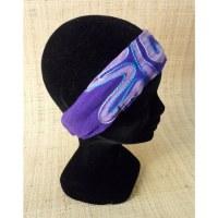 Bandeau cheveux violet brodé