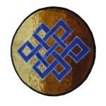 Ecusson noeud tibétain bleu
