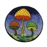 Ecusson trio de champignons bleu