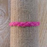 Bracelet cuir tresse fine rose