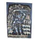 Batik déesse hindoue bleue