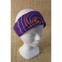 Bandeau fichu violet spirale brodée