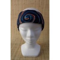 Bandeau fichu bleu marine spirale brodée