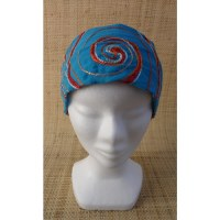 Bandeau fichu bleu spirale brodée