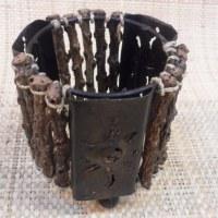 Bougeoir métal et bois rond
