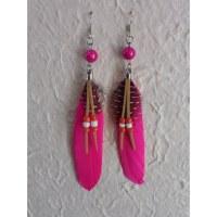 Boucles d'oreilles plumette fluo rose