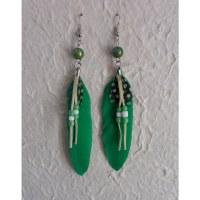 Boucles d'oreilles plumette fluo vert