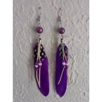 Boucles d'oreilles plumette violette