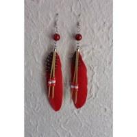 Boucles d'oreilles plumette rouge