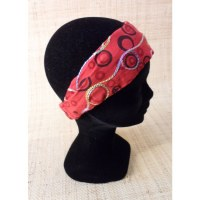 Bandeau cheveux peace and love rouge