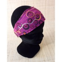 Bandeau cheveux peace and love rose foncé