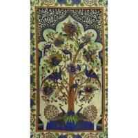Tenture arbre de vie vert les paons