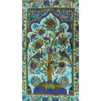 Tenture arbre de vie bleu les paons