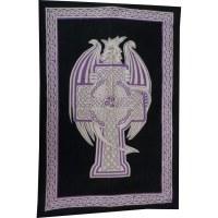 Tenture dragon et croix celte mauve