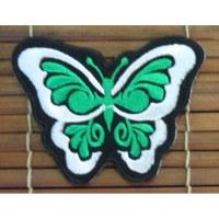Ecusson papillon vert et blanc