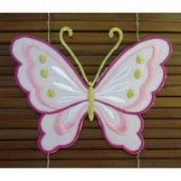 Ecusson grand papillon rose