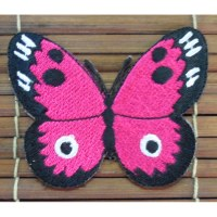 Ecusson papillon fuschia