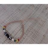 Bracelet  écru perles bois color