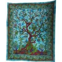 Maxi tenture arbre de vie bleue