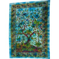 Tenture arbre de vie bleue
