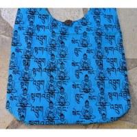Besace Bouddha sanskrit bleu