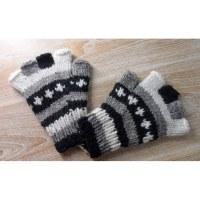 Mitaines en laine noir/gris/blanc