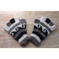 Mitaines en laine noir/gris/blanc vagues