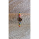 Bracelet  macramé peace and love marron